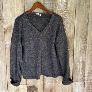 Gap Multi-Color Black Metallic V-Neck Sweater XL